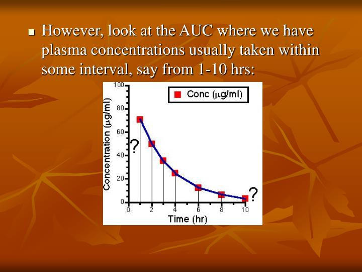 However, look at the AUC where we have plasma concentrations usually taken within some interval, say from 1-10 hrs: