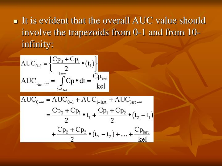 It is evident that the overall AUC value should involve the trapezoids from 0-1 and from 10-infinity: