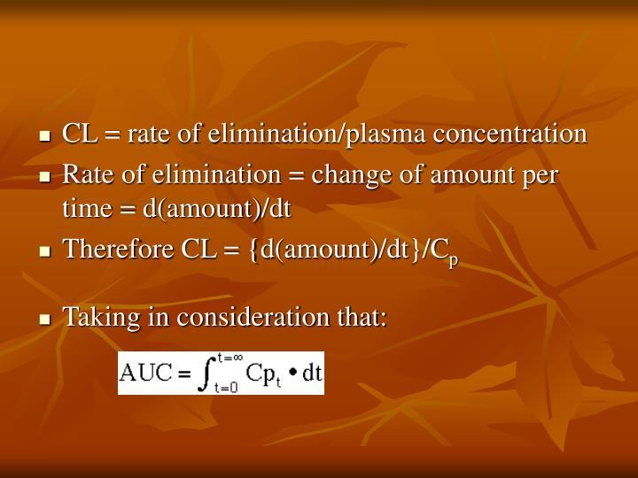 CL = rate of elimination/plasma concentration