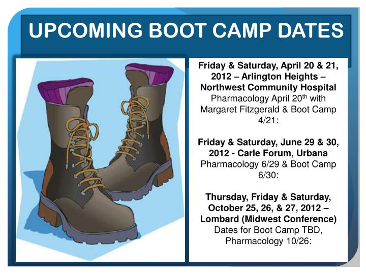 UPCOMING BOOT CAMP DATES
