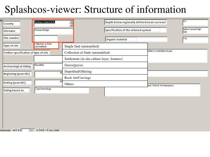 Splashcos-viewer: Structure of information