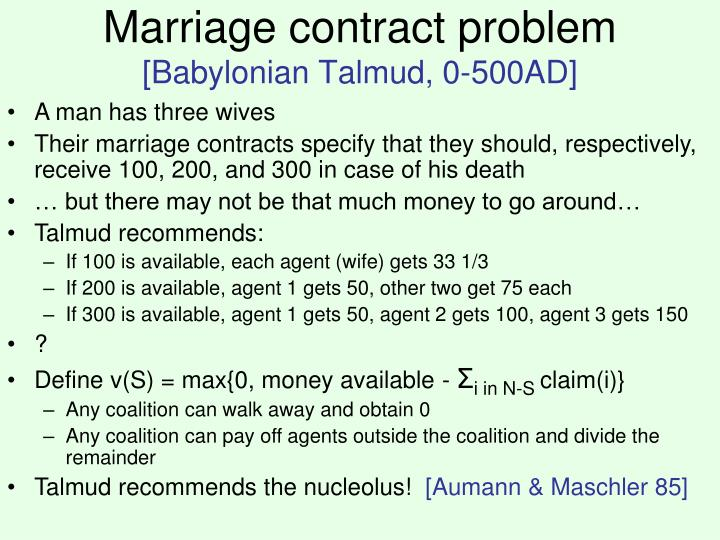 Marriage contract problem