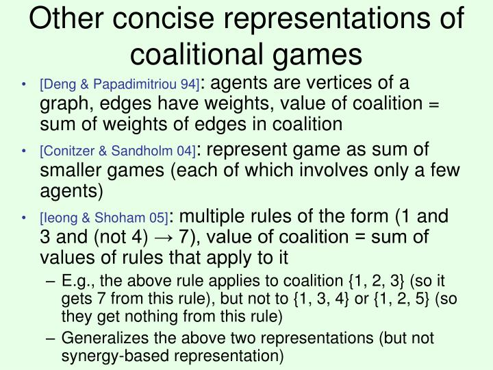 Other concise representations of coalitional games