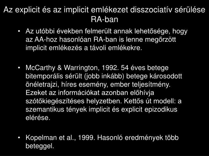 Az explicit és az implicit emlékezet disszociatív sérülése RA-ban