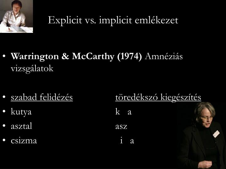 Explicit vs. implicit emlékezet