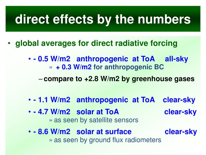 direct effects by the numbers