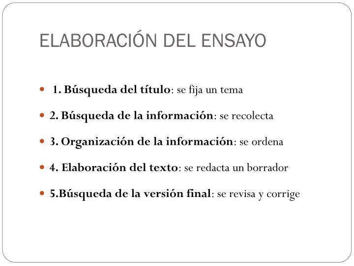 ELABORACIÓN DEL ENSAYO