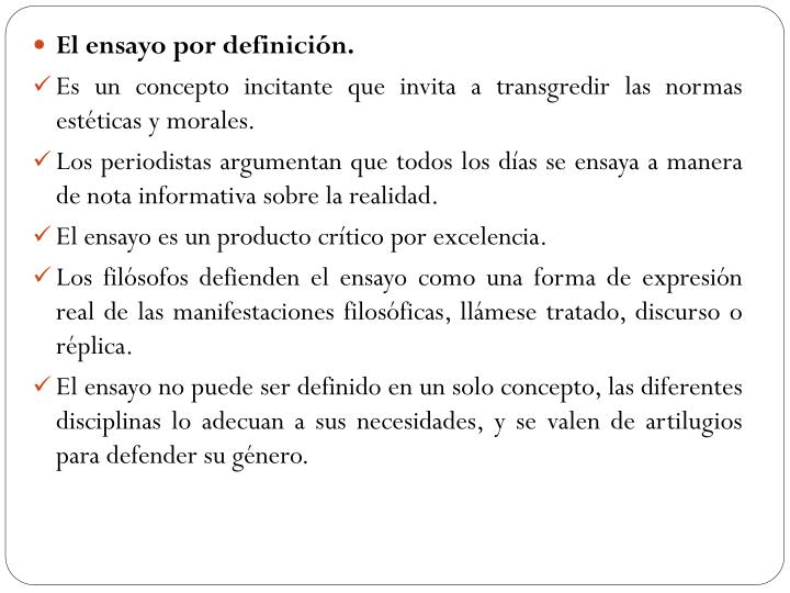 El ensayo por definición.
