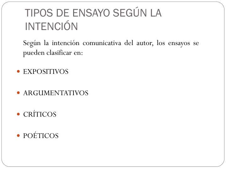 TIPOS DE ENSAYO SEGÚN LA INTENCIÓN