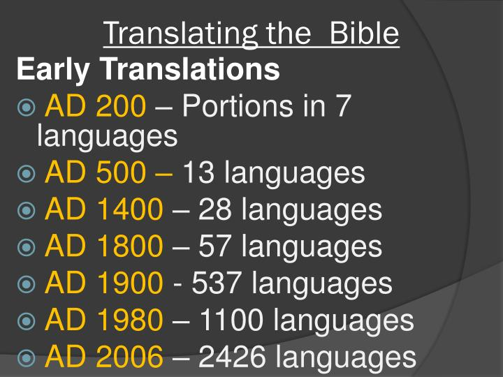 Translating the  Bible
