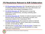 itu resolutions relevant to aub collaboration