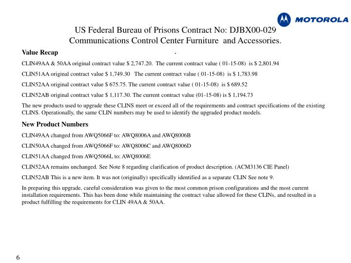 US Federal Bureau of Prisons Contract No: