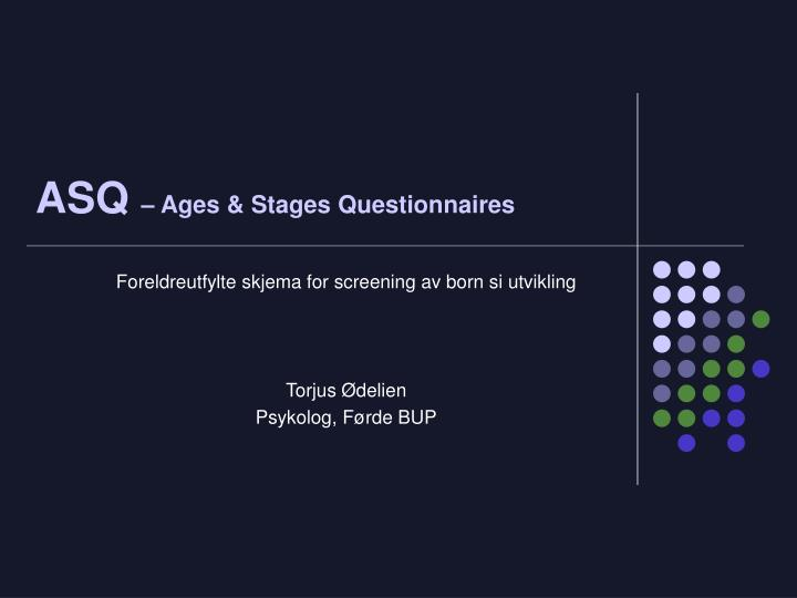 asq ages stages questionnaires