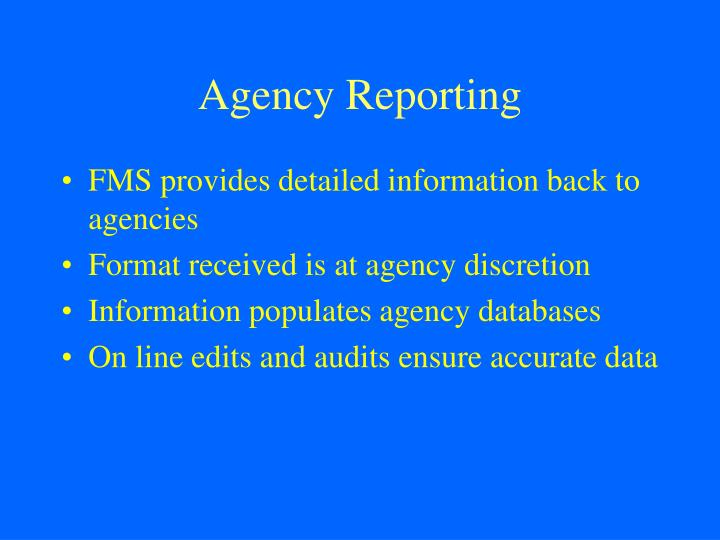 Agency Reporting