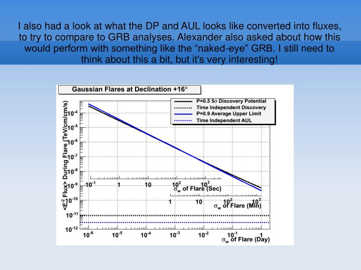 """I also had a look at what the DP and AUL looks like converted into fluxes, to try to compare to GRB analyses. Alexander also asked about how this would perform with something like the """"naked-eye"""" GRB. I still need to think about this a bit, but it's very interesting!"""