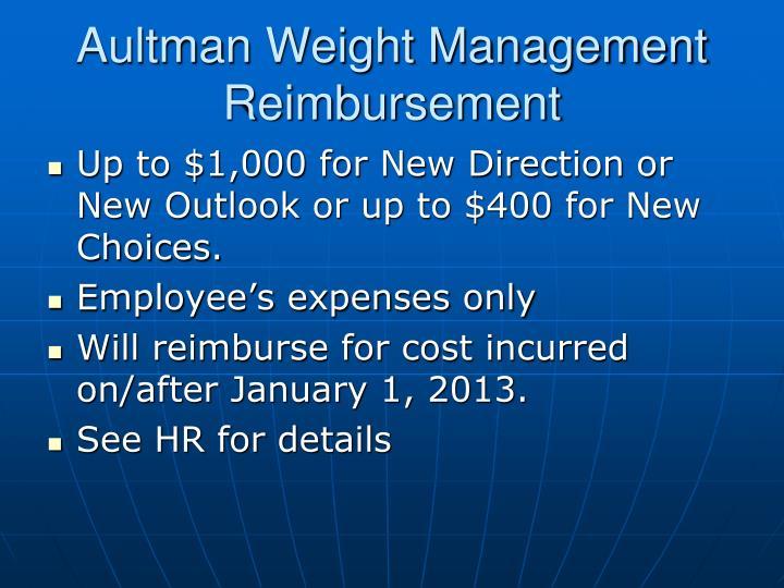 Aultman Weight Management Reimbursement