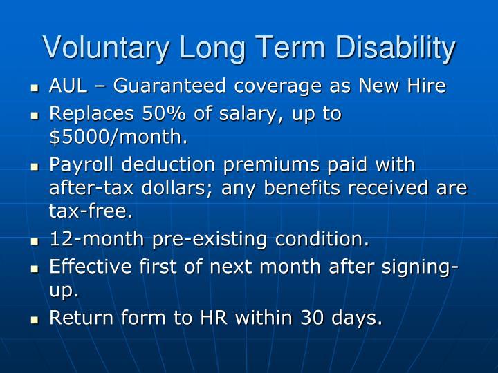 Voluntary Long Term Disability