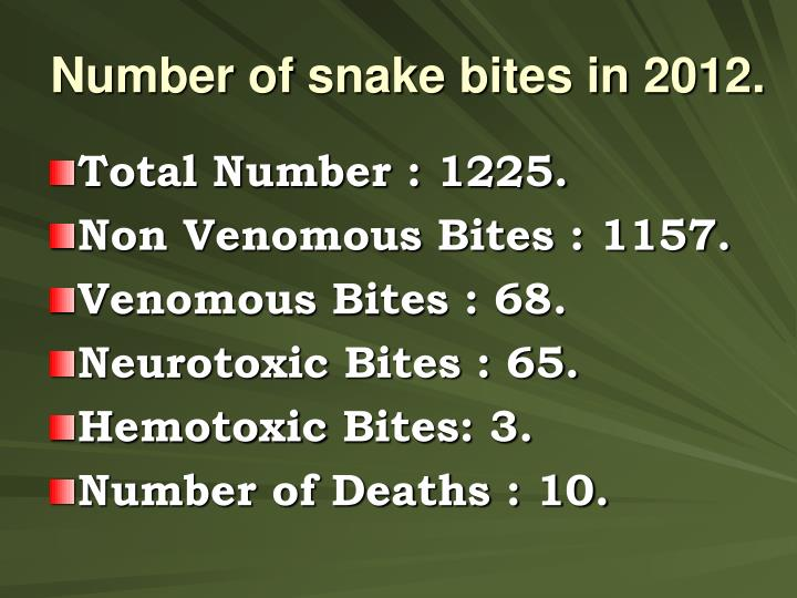 Number of snake bites in 2012