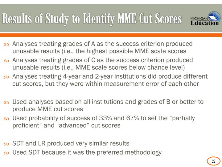 Results of Study to Identify MME Cut Scores