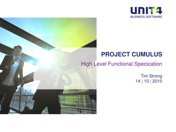 Project cumulus high level functional specification