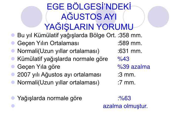 EGE BÖLGESİ'NDEKİ