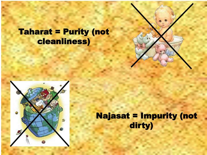 Taharat = Purity (not cleanliness)