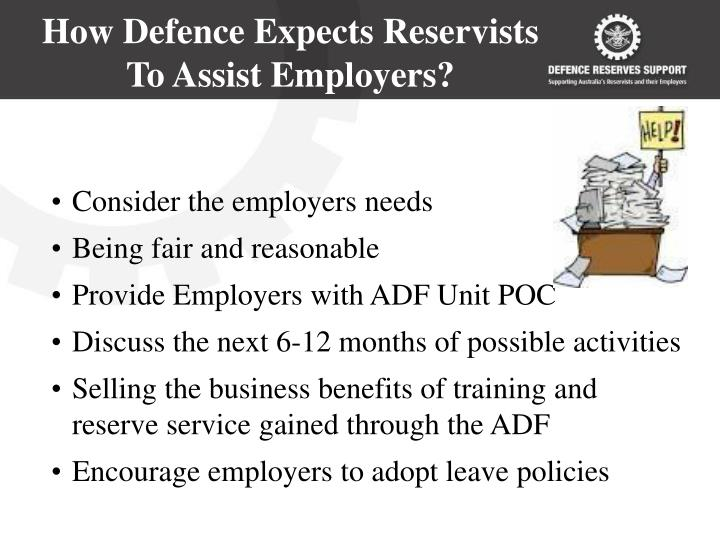 How Defence Expects Reservists To Assist Employers?