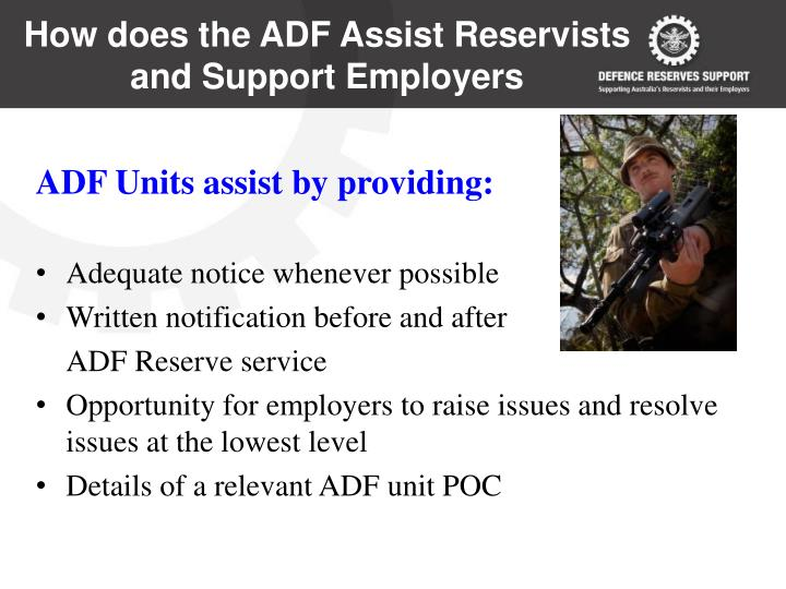 How does the ADF Assist Reservists and Support Employers