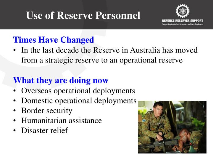 Use of reserve personnel