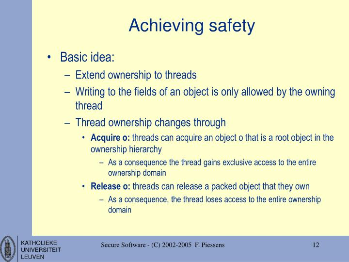 Achieving safety