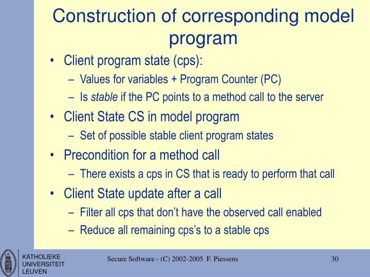 Construction of corresponding model program