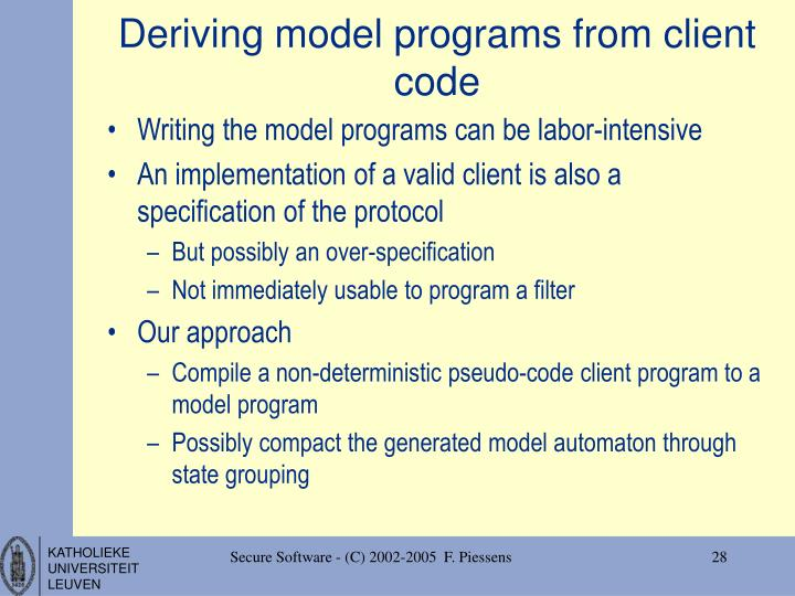 Deriving model programs from client code