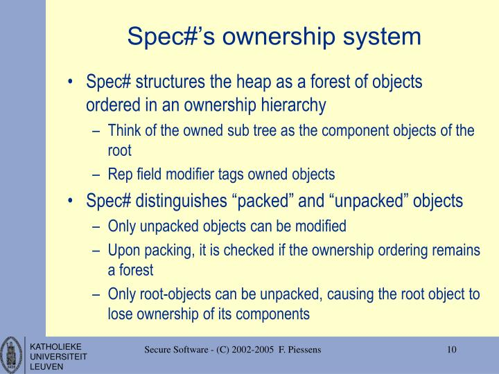 Spec#'s ownership system