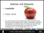 kalorier och kilojoule