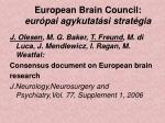 european brain council eur pai agykutat si strat gia