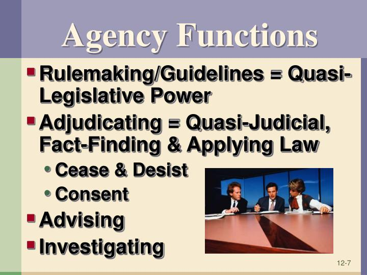 Agency Functions