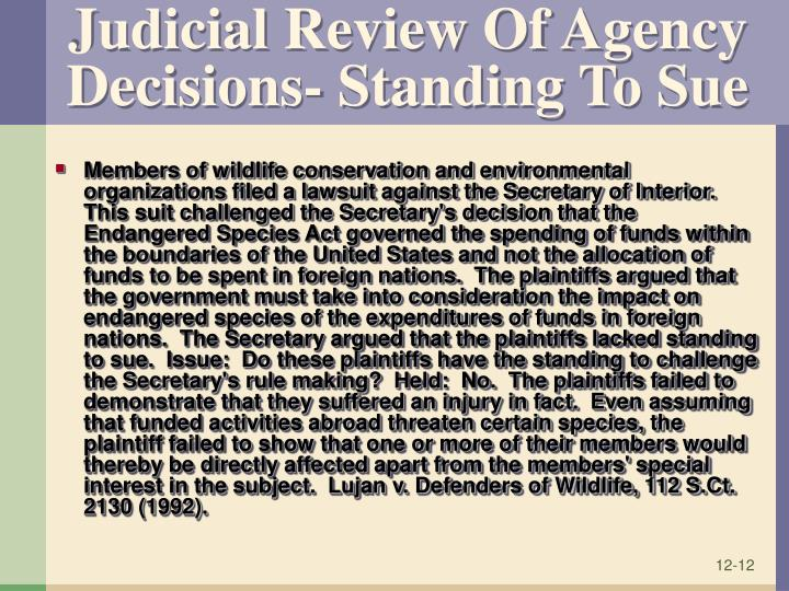 Judicial Review Of Agency Decisions- Standing To Sue