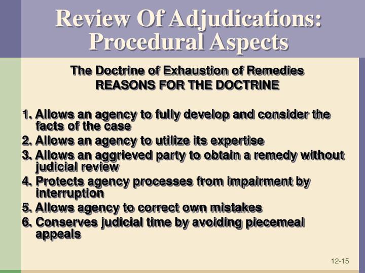 Review Of Adjudications: