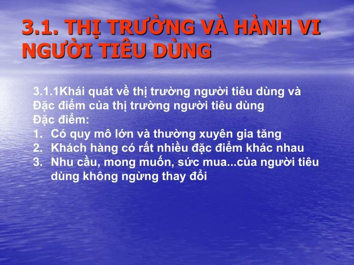 3.1. THỊ TRƯỜNG VÀ HÀNH VI NGƯỜI TIÊU DÙNG