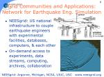 grid communities and applications network for earthquake eng simulation