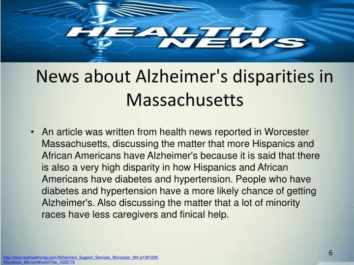 News about Alzheimer's disparities in Massachusetts