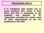 procedure for cv1