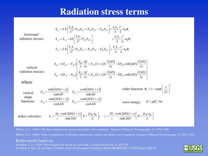 Radiation stress terms