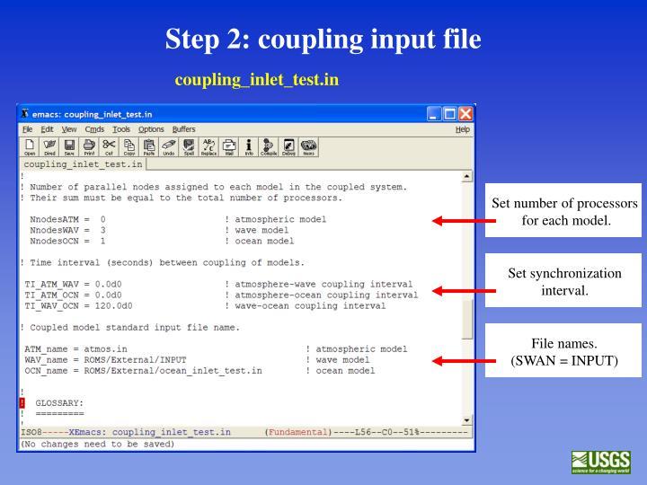 Step 2: coupling input file
