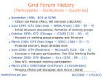 grid forum history participants institutions countries