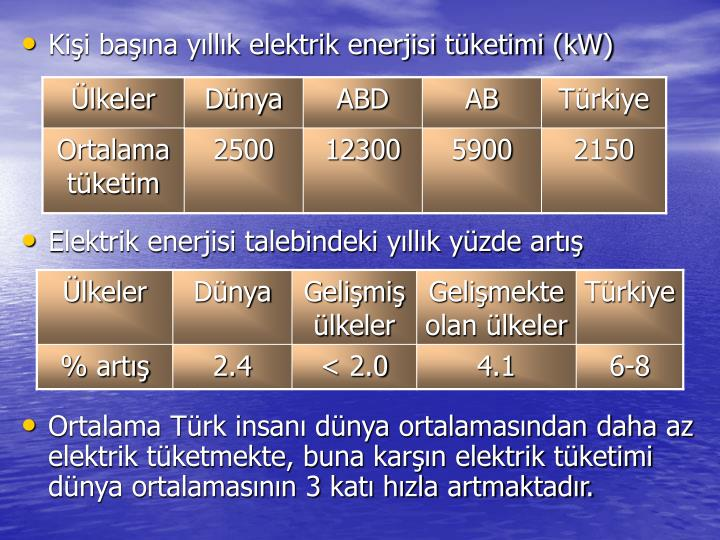 Kişi başına yıllık elektrik enerjisi tüketimi (kW)