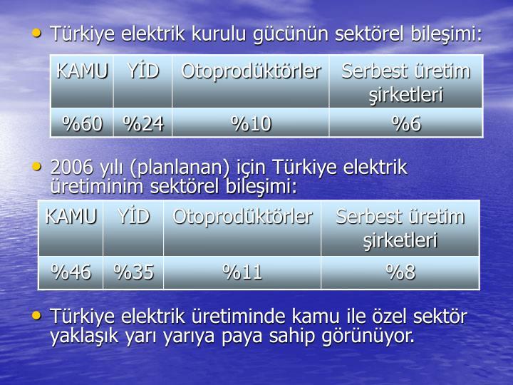 Türkiye elektrik kurulu gücünün sektörel bileşimi: