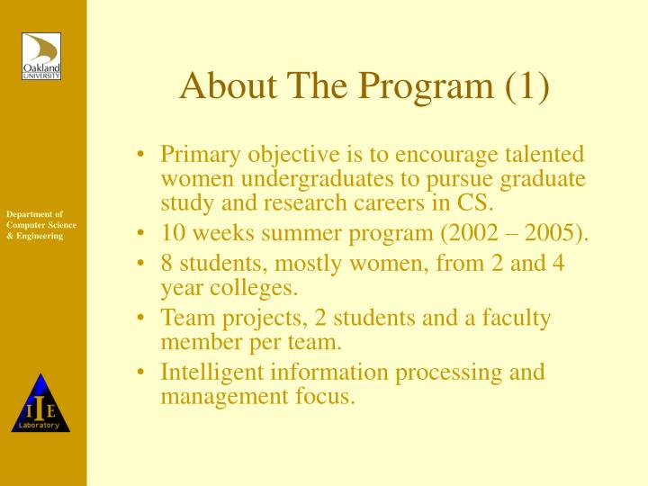About the program 1