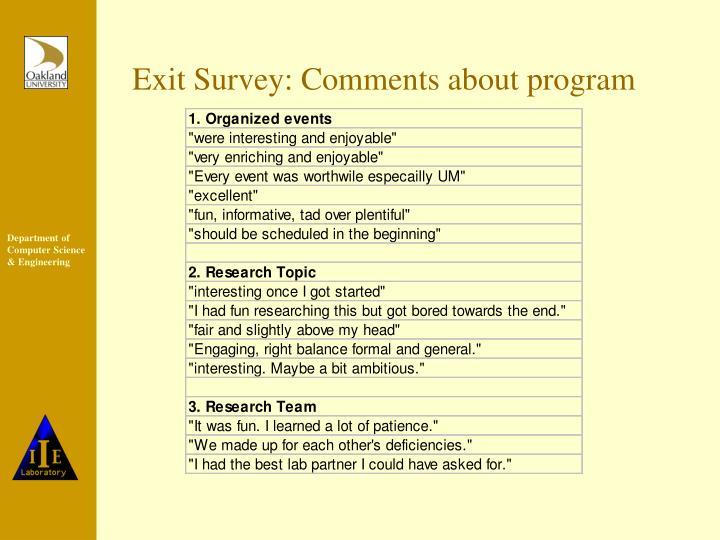 Exit Survey: Comments about program