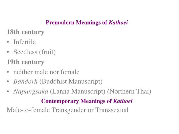 Premodern Meanings of